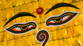 Symbol of Nepal, Buddha's Eyes in Kathmandu. Royalty Free Stock Image