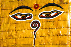 Symbol of Nepal, Buddha's Eyes in Kathmandu. Royalty Free Stock Photos