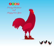 The symbol of the New 2017 rooster. Vector illustration design. Rural Royalty Free Stock Photo
