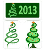 Symbol of New year 2013  - the Snake. Snake on white, green background, the Christmas tree Stock Illustration