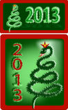Symbol of New year 2013  - the Snake. Snake on white, green background, the Christmas tree Royalty Free Stock Photos
