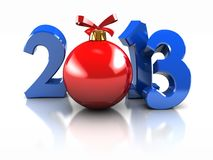 Symbol of New Year. Blue number 2013 with red ball   on white background Stock Photography
