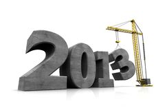 Symbol new year. Number of new year with crane holding three Stock Photography