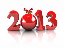 Symbol of New Year. Red  number 2013 with ball  isolated on white background Stock Photo
