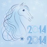 Symbol of the New Year 2014 blue horse  Royalty Free Stock Images