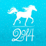 Symbol of the new year. New year card with a symbol of the coming year - the horse vector illustration