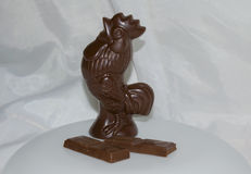 The symbol of the New year a cock. Made of chocolate Royalty Free Stock Images
