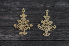 The symbol of new year in the form of Christmas tree on wooden background. ! Royalty Free Stock Photography