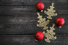 The symbol of new year in the form of Christmas tree on wooden background. ! Royalty Free Stock Photo