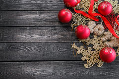 The symbol of new year in the form of Christmas tree on wooden background Stock Images