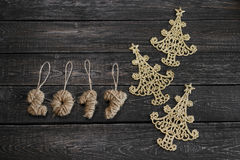 The symbol of new year in the form of Christmas tree on wooden background. ! Stock Photos