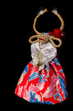 Symbol of 2015 new year - goat. Funny goat clothes on a black background. For New Year's greetings Royalty Free Stock Photos
