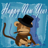 The symbol of the new year - monkey. Greeting illustration with the image of the monkey - the symbol of the new year Stock Photography