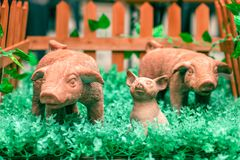 Symbol of the new year 2019. Newborn ceramic toy pig surrounded. By his mom and dad in a tay animal pen. Chinese horoscope year of the pig. 2019 new year of pig royalty free stock images