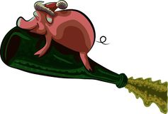 Symbol of the new year pig flying on a bottle of champagne, vector illustration. Vector illustration depicts a pig flying on a bottle of champagne as a symbol vector illustration