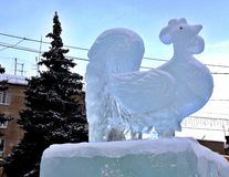 The symbol of the new year rooster ice Royalty Free Stock Photography