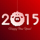 Symbol of New Year's lamb on red Stock Photo