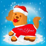 Symbol of the new year yellow Dogs in the hat, cartoon Royalty Free Stock Image