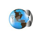 Symbol nieograniczona komunikacja dookoła świata Obraz Royalty Free