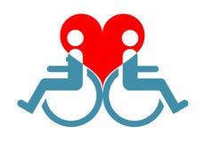 Symbol niepełnosprawni kochankowie siedzi w wózku inwalidzkim przeciw półdupkom royalty ilustracja