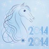 Symbol nowego roku 2014 błękita koń  Obrazy Royalty Free