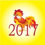 Symbol nowy rok 2017, czerwonego ogienia kogut Obrazy Stock