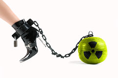 Symbol for nuclear energy on the prison ball Stock Image