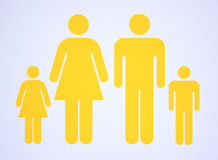 Symbol of nuclear family consisting both parents and two children. Simple symbol or sign of nuclear or elementary family consisting both parents and two children royalty free stock photography