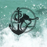 Symbol of Octopus with an Anchor. On the background of the sea Stock Photos