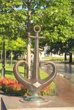 Symbol of Odessa - statue of a bronze anchor in Odessa, Ukraine. On a sunny day Royalty Free Stock Image
