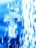 Symbol Of Baptism - Cross Under Water Shower Stock Images