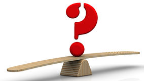 Symbol Of Question Mark On The Scales Royalty Free Stock Photos