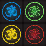Symbol om on black background. Hinduism religion golden symbol om on black background - doodle Stock Photo