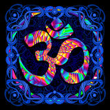 Symbol OM is a psychedelic painting Stock Photos