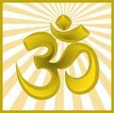 Symbol om on sun burst background. Hinduism religion golden symbol om on sun burst background Royalty Free Stock Photography
