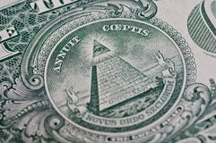 Symbol On One Dollar. The pyramid and eye on the back of a one dollar bill Royalty Free Stock Photos