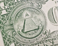 Symbol On One Dollar. The pyramid and eye on the back of a one dollar bill Royalty Free Stock Images