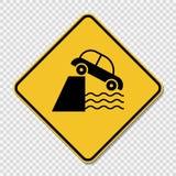 symbol ostrożności falezy naprzód znak na przejrzystym tle ilustracja wektor