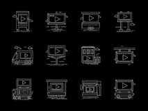 Placements for video ads flat line icons. Symbol for outdoor advertising objects. Display on buildings, screen and board on truck and other placement for video Royalty Free Stock Photo
