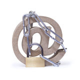 At symbol, padlock and chain. Royalty Free Stock Photography