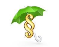 Symbol of paragraph under green umbrella. Stock Photos
