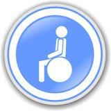 Symbol of paralytic. Blue circular sign indicating wheelchair Royalty Free Stock Image