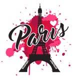 Symbol Paris Modedruck für weibliche Abnutzung stockfotografie