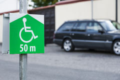 Symbol of the parking for disabled person. Stock Photo