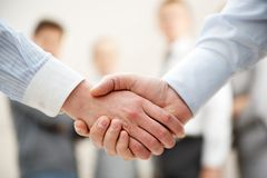 Symbol of partnership. Image of business handshake after making agreement Stock Photography