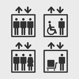 Elevators vector icons. Symbol passenger, freight elevators and lifts for the disabled, set vector icons Stock Images