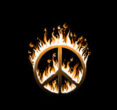 Symbol of peace engulfed in flames. Concept of endangered peace Stock Photo