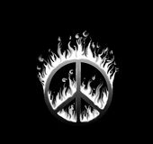 Symbol of peace engulfed in flames. Concept of endangered peace; in black and white Royalty Free Stock Photos