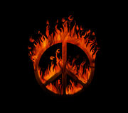 Symbol of peace on fire, on black background. Concept of peace being threatened Royalty Free Stock Photo