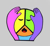 Sad hippie peace symbol. A symbol of peace. The hippies call it Pacifik. A colored circle with eyes and mouth. He put his head in his hands. The symbol of the Stock Photography